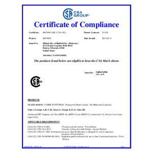ADUP Series CSA Certificate of Compliance