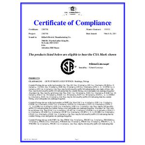 E Series, O Series, CO & TW Series Conduit Bodies CSA Certificate of Conformity