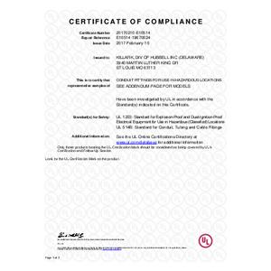 EKJ Series Sizes 1-3 Flexiblie Couplings UL Certification