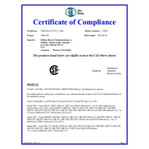 GEC SeriesCSA Certificate of Compliance