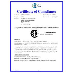 CSA Certificate - 150 Amp Versamate