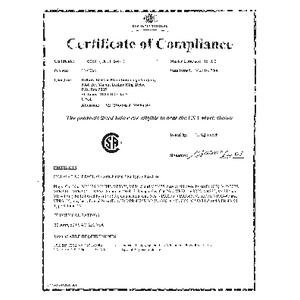 CSA Certificate - 30 Amp Versamate Series