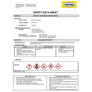 SDS - H.M. Lubricant Dry Film (C400-2335)