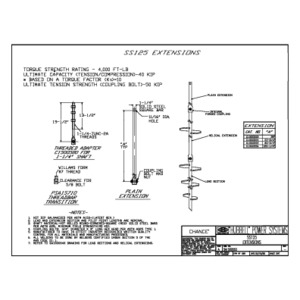 SS1250 Screw Anchors Extensions 1-1/4 inch SS