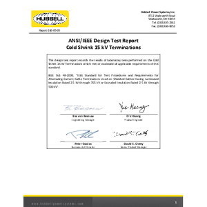 ANSI/IEEE Design Test Report Cold Shrink 15kV Terminations (G160505)