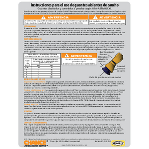 CHANCE Rubber Insulating Gloves User Instructions (07-1102-esp) Spanish
