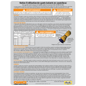 CHANCE Rubber Insulating Gloves User Instructions (07-1102-fra) French