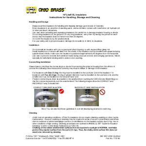Hi*Lite® XL Insulators Instructions for Handling, Storage and Cleaning (17-5140)