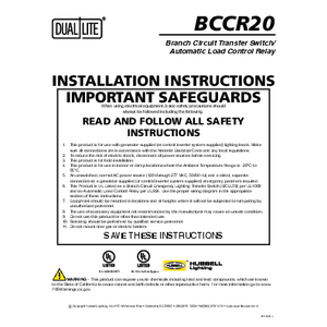 BCCR20 Relay Control Device Installation Manual