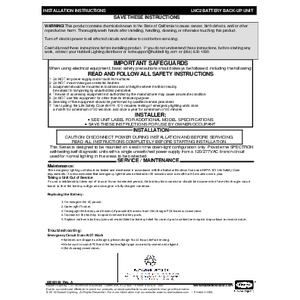Battery Backup Instruction Sheet