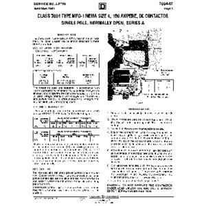DC Magnetic Contactor - Class 7004 Type MFO1, 150A, SPNO, Size NEMA4, Series A