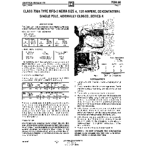 DC Magnetic Contactor - Class 7004 Type MFO3, 150A, SPNC, Size NEMA4, Series A