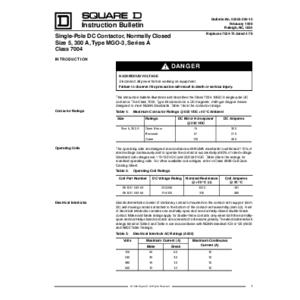 DC Magnetic Contactor - Class 7004 Type MGO3, 300A, SPNC, Size NEMA5, Series A