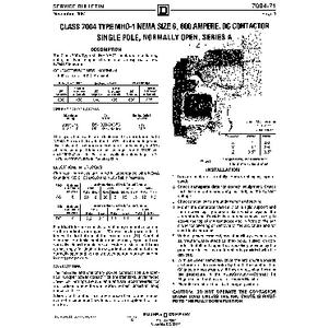 DC Magnetic Contactor - Class 7004 Type MHO1, 600A, SPNO, Size NEMA6, Series A
