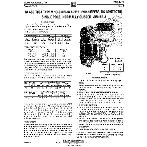 DC Magnetic Contactor - Class 7004 Type MHO3, 600A, SPNC, Size NEMA6, Series A