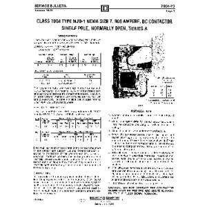 DC Magnetic Contactor - Class 7004 Type MJO1, 900A, SPNO, Size NEMA7, Series A
