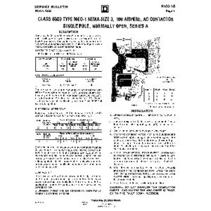 AC Magnetic Contactor - Class 8503 Type MEO1, 100 A, SPNO, Size NEMA 3, Series A