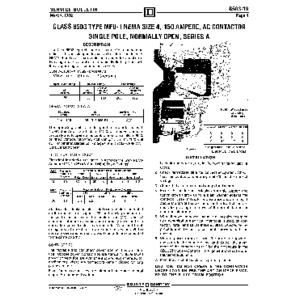 AC Magnetic Contactor - Class 8503 Type MFO1, 150 A, SPNO, Size NEMA 4, Series A