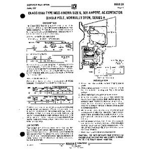 AC Magnetic Contactor - Class 8503 Type MGO1, 300 A, SPNO, Size NEMA 5, Series A