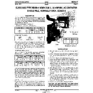 AC Magnetic Contactor - Class 8503 Type MXDO1, 50 A, SPNO, Size NEMA 2, Series A