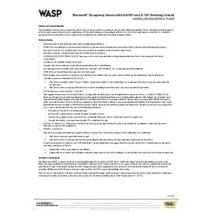 Bluetooth® WASP Sensor Installation Sheet