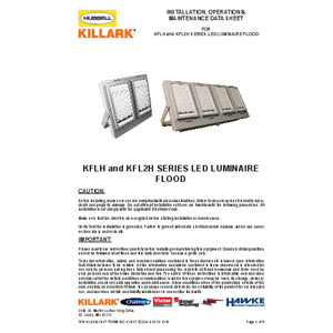 KFLH &  KFL2H Series LED Floodlight Luminaires IOM
