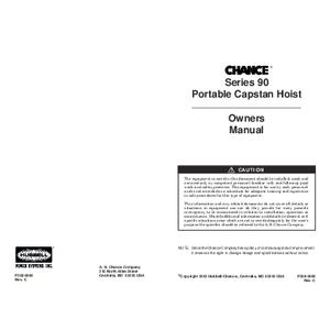 CHANCE Series 90 Portable Capstan Hoist Owner's Manual (P308-0880)