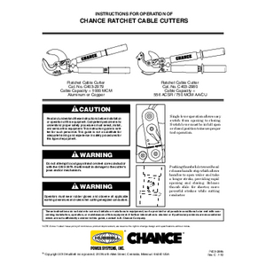 CHANCE Ratchet Cable Cutters Operation Instructions (P403-2985revC)