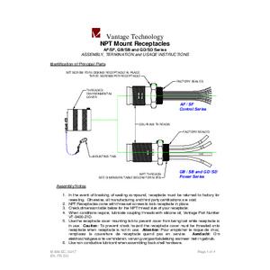 AF/SF, GB/GD, & SB/SD Series NPT Mount Receptacles IOM
