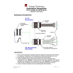 AF/SF, GB/GD, & SB/SD Series Panel Mount Receptacles IOM