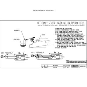 Occupancy Sensor Installation Sheet