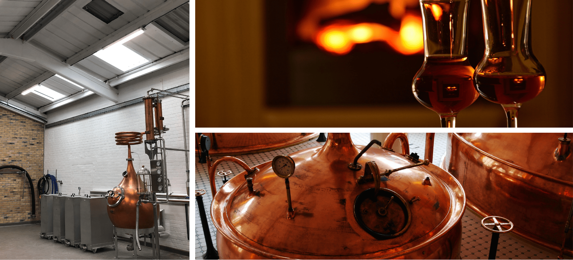 Three image collage with whisky and distillery images
