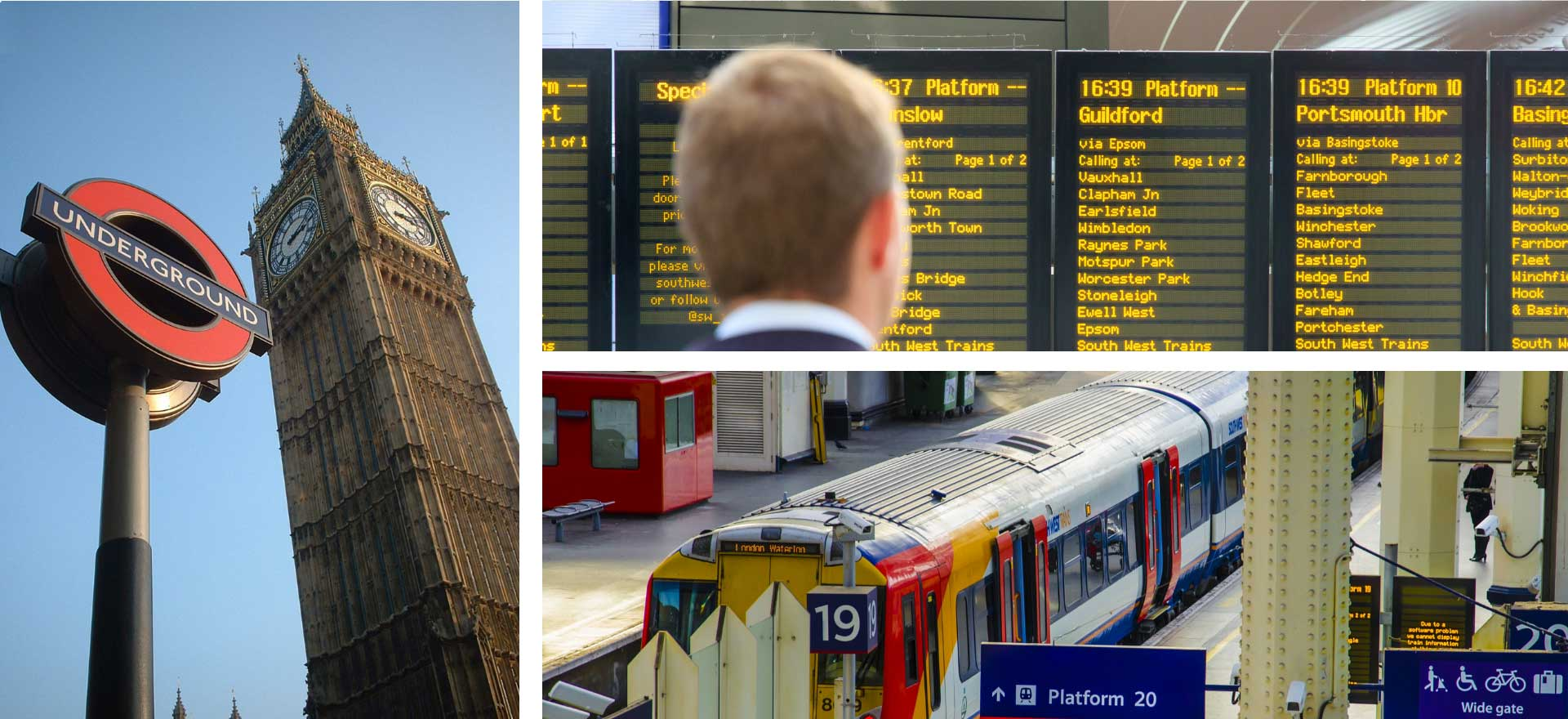Three images of London Underground, Train Timetable board and Train in station