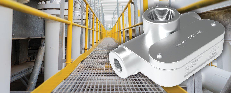 "Hubbell Killark TET ""Top Entry T"" Conduit Bodies - Innovative conduit fitting for gantry walkways"
