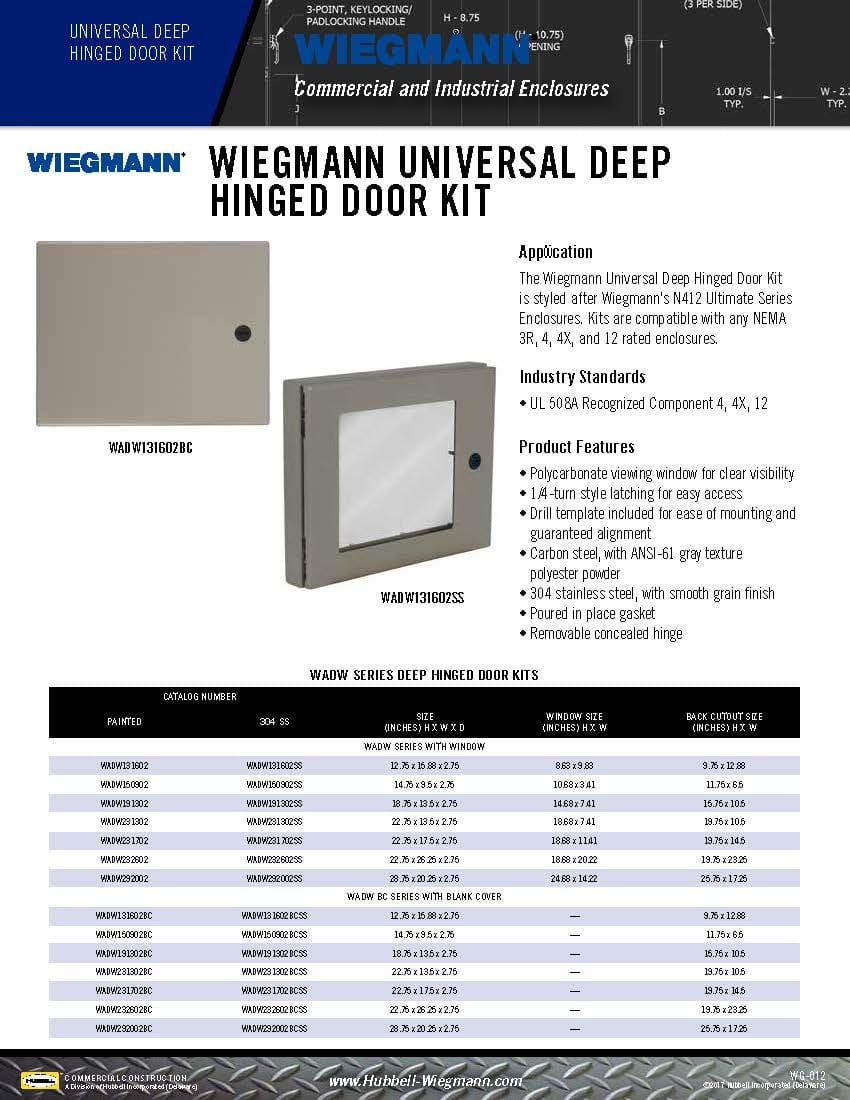 Wiegmann Wiring Trough Nema 12 Wieg Sell 012 Universal Deep Hinged Door Kit