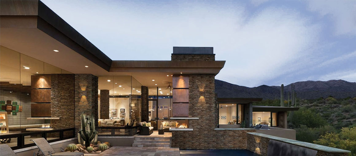 Brightly illuminated house in the desert. & Architectural Area Lighting | Homepage