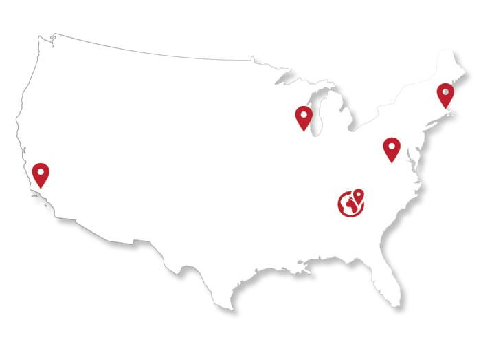 Map of Lighting Solutions Center Locations Across the US