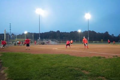 A well lit ball field