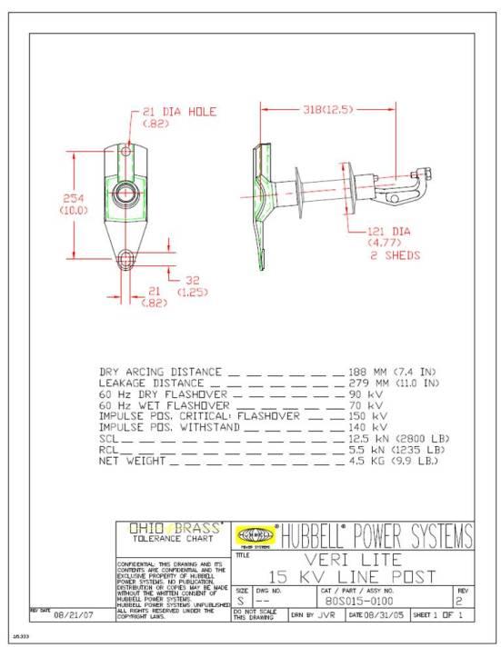 OHIOBR 80S015-0100 INSULATORS 15KVHORIZONTAL LINE POST