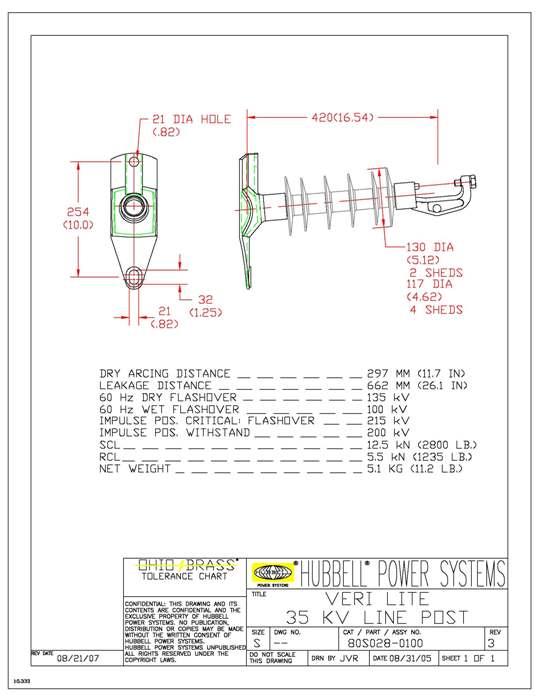 OHIOBR 80S0280100 INSULATOR