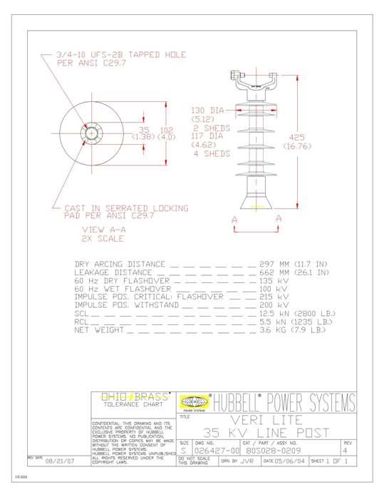 HPS 80S0280209 VERI LITE, SRP 35KVVCT-3/4S