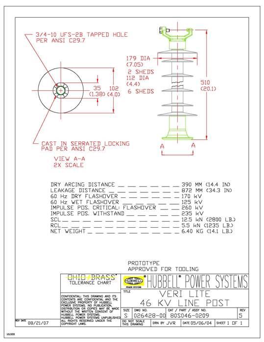 HPS 80S0460209 VERI LITE, SRP 46KVVCT-3/4S Clamp Top