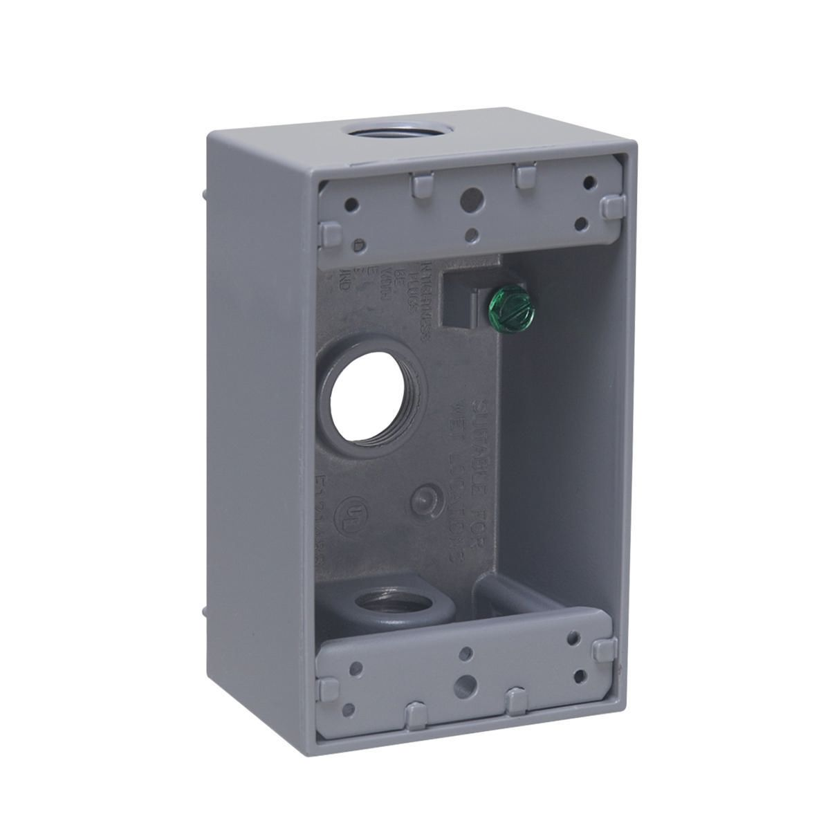 1G WP BOX (3) 1/2 IN. OUTLETS - GRAY