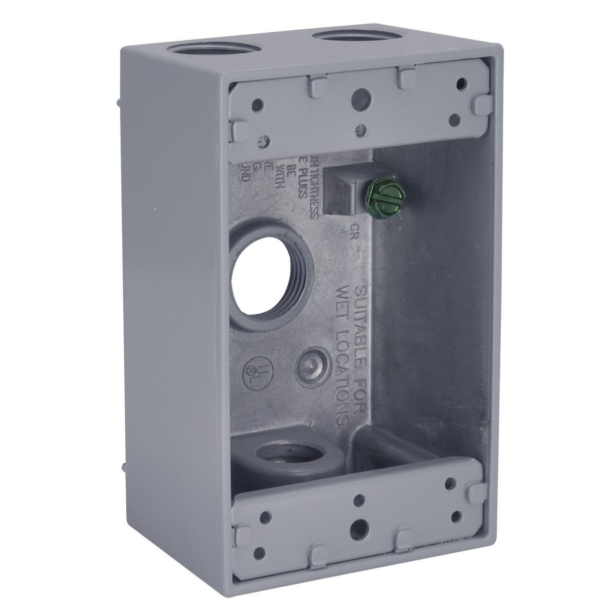 1G WP BOX (4) 1/2 IN. OUTLETS - GRAY