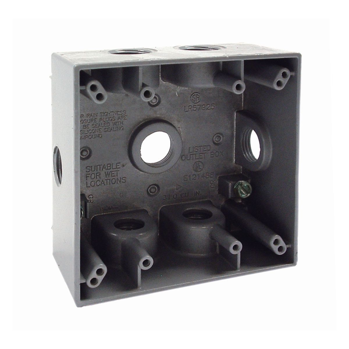 White Hubbell-Bell MX2050WH Two Gang Two Device Flat Metal Weatherproof Receptacle Cover