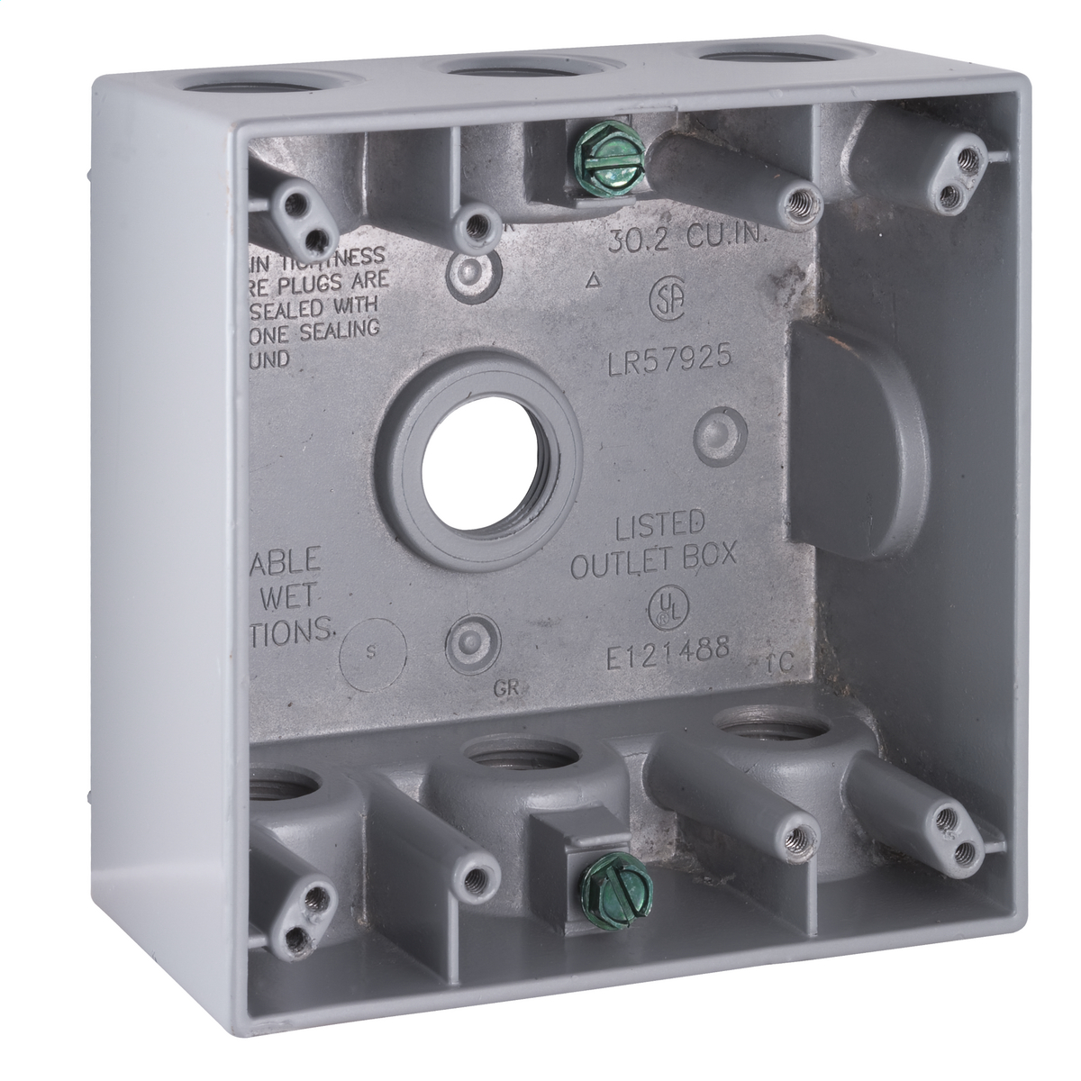 2G WP BOX (7) 1/2 IN. OUTLETS GRY CARDED