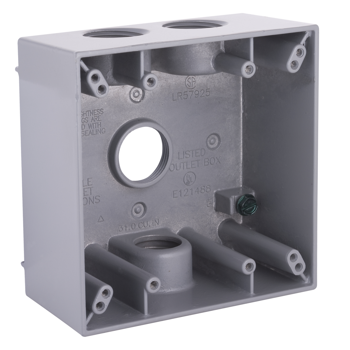 2G WP BOX (4) 3/4 IN. OUTLETS - GRAY