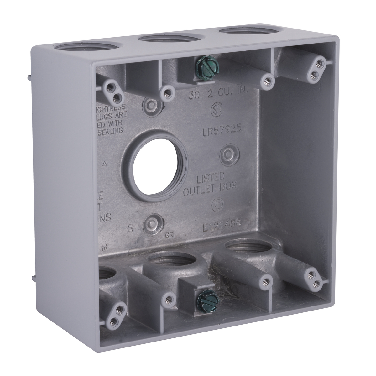 2G WP BOX (7) 3/4 IN. OUTLETS - GRAY