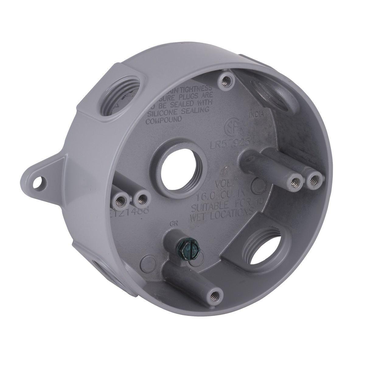 """Weatherproof 4/"""" Round Box Five 1//2/"""" Holes Weather Resistant BRONZE Metal Outdoor"""