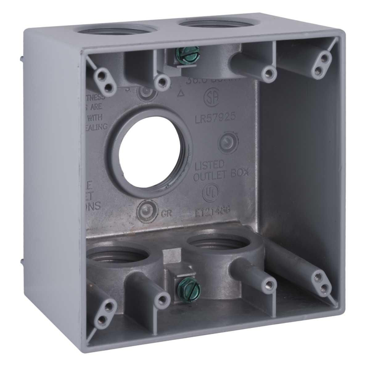2G WP DEEP BOX (5) 1 IN. OUTLETS - GRY